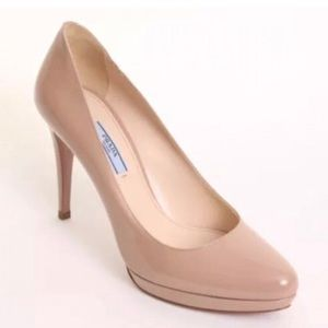 $650 NWT Prada Platform Heels - Nude  Patent Sz 38